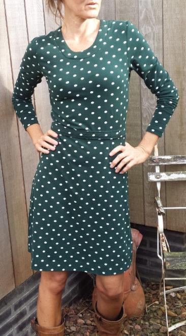 MUDD-&WATER-jurk-polkadot-groen