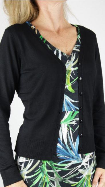 IEZ-jurk-Wrap-black-leaves-ZILCH-bamboe-vestje-zwart