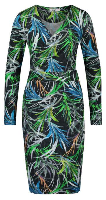 IEZ!-jurk-wrap-leaves-zwart-voorkant