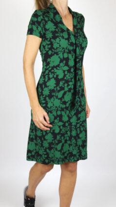 IEZ-jurk-Bow-flowers-zwart-groen
