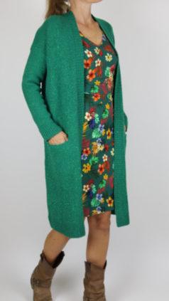 IEZ-jurk-Wrap-flowers-groen-LE-PEP-vest-Bali-groen