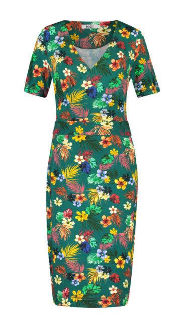 IEZ-jurk-Wrap-flowers-groen-voorkant