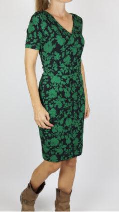IEZ-jurk-Wrap-flowers-zwart-groen