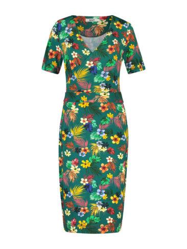 IEZ-jurk-Wrap-groen-flowers-voorkant