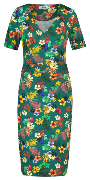 IEZ-jurk-Wrap-groen-flowers-voorkant.
