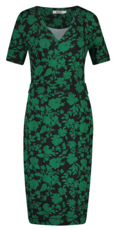 IEZ-jurk-Wrap-groen-zwart-flowers-voorkant