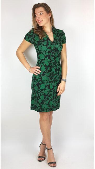 iez-jurk-bow-flowers-groen-zwart