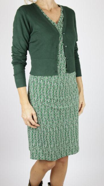 Froy-&-Dind-jurk-Emilia-green-flower-ZILCH-kort-bamboe-vestje-donkergroen