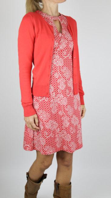 ICH-JANE-jurk-Belle-lace-ZILCH-bamboe-vestje-ronde-hals-rood