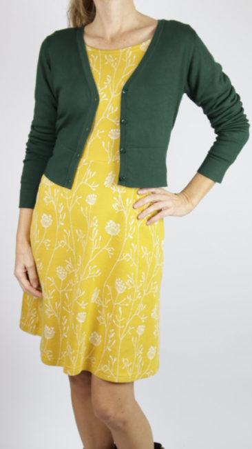 ICH-JANE-jurk-Cristal-curry-poppies-ZILCH-kort-bamboe-vestje-donkergroen