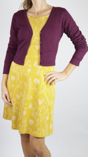ICH-JANE-jurk-Cristal-curry-poppies-ZILCH-kort-bamboe-vestje-plum