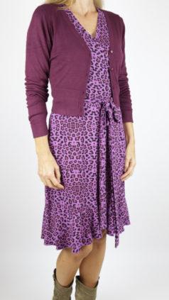 Tante-Betsy-jurk-Wrap-leopard-paars-ZILCH-kort-bamboe-vestje-aubergine
