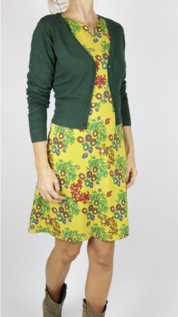 WHO´S-THAT-GIRL-jurk-Saroy-geel-ZILCH-kort-bamboe-vestje-donkergroen