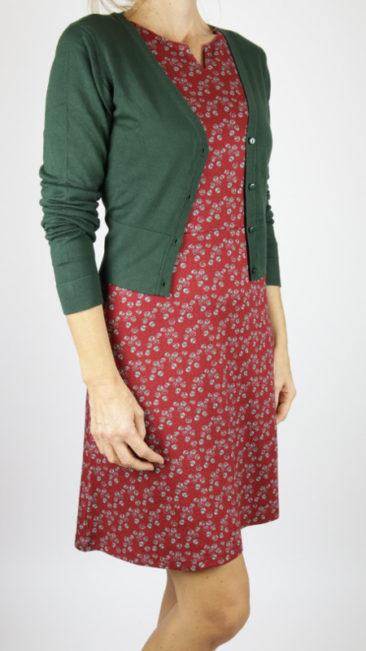WHO´S-THAT-GIRL-jurk-Saroy-rood-ZILCH-kort-bamboe-vestje-donkergroen