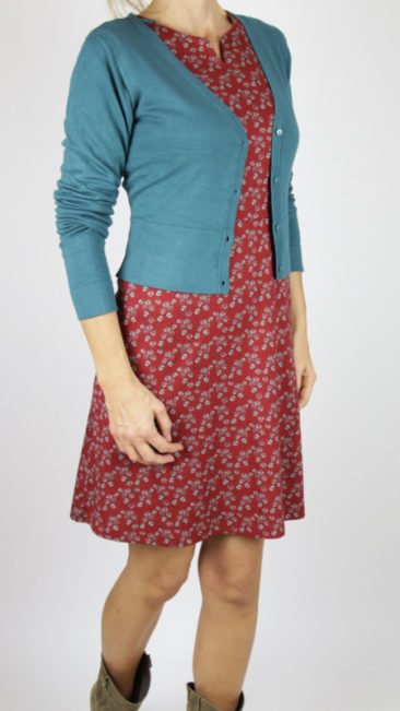 WHO´S-THAT-GIRL-jurk-Saroy-rood-ZILCH-kort-bamboe-vestje-steel