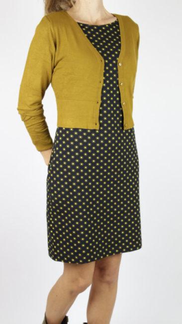 ZILCH-jurk-Hexagon-black-kort-bamboe-vestje-mustard