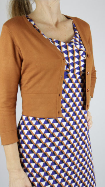 ZILCH-kort-bamboe-vestje-roest-jurk-Abstract-royal-blue