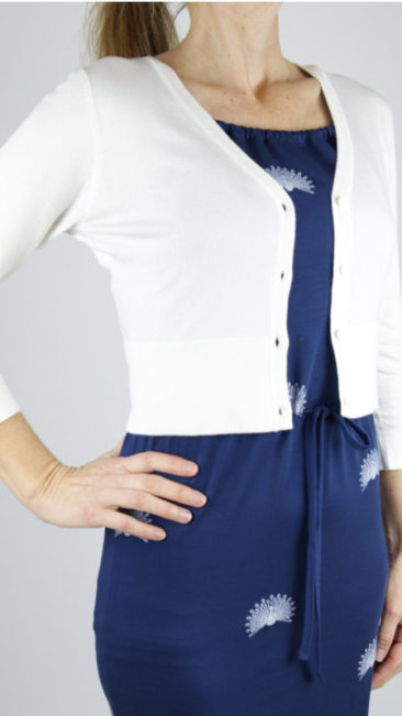 ZILCH-kort-bamboe-vestje-offwhite-Froy-&-Dind-jurk-Yvonne-peacock