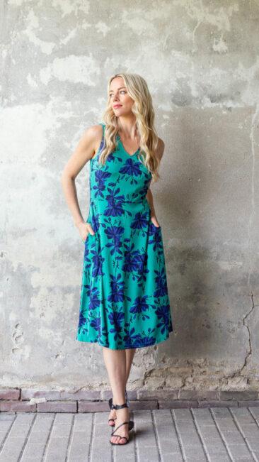 zilch-jurk-midi-flowers-emerald