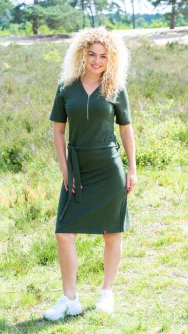mooi-vrolijk-jurk-v-neck-zipper-green