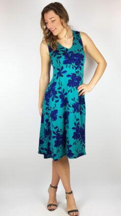 zilch-jurk-Flowers-emerald