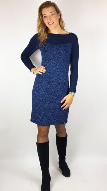 tranquillo-jurk-two-tone-blauw
