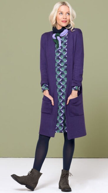 zilch-jurk-pockets-birds-purple-lang-bamboe-vest-purple-muffler-navy