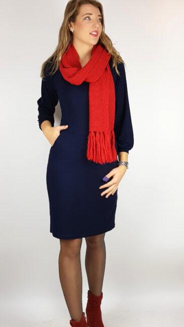 lily-balou-sjaal-kay-tomato-red-whos-that-girl-jurk-evangeline-dark-navy